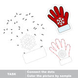 Red gloves to be traced. Vector numbers game. Red gloves in vector to be traced by numbers. Vector dot to dot game. Connect dots for numbers Stock Images