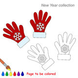 Red gloves in vector cartoon to be colored. Coloring book for children Royalty Free Stock Image