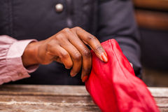 Red gloves Stock Images