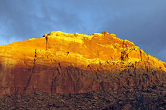 Red Glow on a Canyon Wall. In Capital Reef National Park in Utah Royalty Free Stock Image