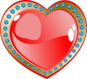 Red Glow Heart And Diamonds. Red Heart And Diamonds.Vector Illustration Stock Photo