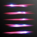Red Glow Light Effect Vector. Energy Lights Ray Streaks. Abstract Fire Flare Trace Lens Flares. Design Element For Stock Photography