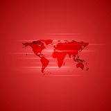Red glowing background with world map Stock Images