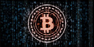 Red glowing Bitcoin data in zero and one digit numbers format on blue binary background. For token promotion, news, analysis report or advertising purpose royalty free illustration