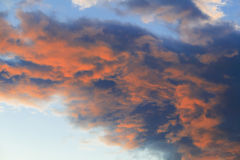 Red glowing clouds in Stowe, Vermont, USA Royalty Free Stock Image