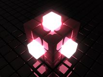 Red glowing cube Stock Images