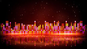 Red glowing equalizer and reflection Royalty Free Stock Images
