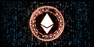 Red glowing ethereumETH coin data in zero and one digit numbers format on blue binary background. For token promotion, news, analysis report or advertising stock illustration