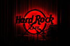 Red Glowing Hard Rock Cafe Royalty Free Stock Image