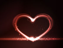 Red glowing heart. Overlying semitransparent heart shapes with light effects form a glowing frame in shades of red on a dark red background. Eps10. Copy space royalty free illustration