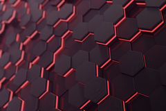 Red glowing hexagon futuristic background. 3d rendering Royalty Free Stock Photography