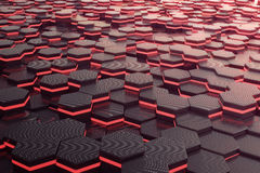 Red glowing hexagon futuristic background. 3d rendering Stock Image