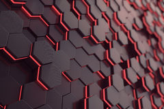 Red glowing hexagon futuristic background. 3d rendering Stock Photography