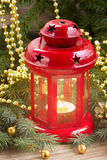 Red glowing  lantern close up Royalty Free Stock Photography