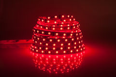 Red glowing LED garland, strip Royalty Free Stock Photos