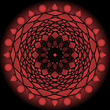 Red glowing mandala on black background. Vector circle mandala for energy and power obtaining. Royalty Free Stock Photos