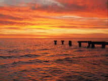 Red glowing ocen and sky at Port Philip Bay Stock Image