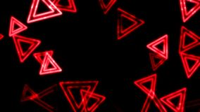 Red glowing triangles animation background stock footage