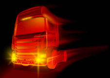 Red Glowing Truck. Abstract Illustration with Fire Effects, Vector Stock Photography