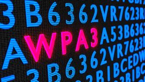 Red glowing word WPA3 on dark wall among random letters Royalty Free Stock Image