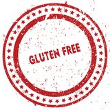 Red GLUTEN FREE distressed rubber stamp with grunge texture. Illustration Royalty Free Stock Image
