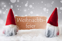 Red Gnomes With Snow, Weihnachtsfeier Means Christmas Party Royalty Free Stock Photography