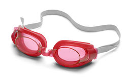 Red Goggles. Pair of Swimming Goggles Isolated on White Background Royalty Free Stock Photography