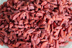 Red Goji's Berries. A plate full of red Goji's Berries, the fruit of the wellness Royalty Free Stock Images