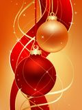 Red and gold. Two christmas ball on gold background royalty free illustration
