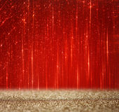 Red and gold abstract bokeh lights  defocused background. Royalty Free Stock Image