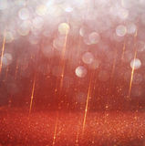 Red and gold abstract bokeh lights. defocused background Stock Images