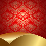 Red and gold background. Red background with flowers and leaves and gold sheet Royalty Free Stock Photography