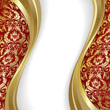 Red  and gold background. Red  background with flowers and leaves and gold wave Royalty Free Stock Image