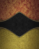 Red gold background with black accents. Template for design. copy space for ad brochure or announcement invitation, abstract backg Royalty Free Stock Photography