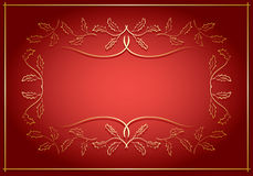Red and gold vector background with frame in center Royalty Free Stock Photography