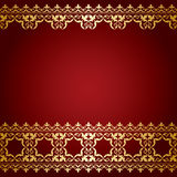 Red and gold vector background with vintage border Stock Photo