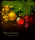 Red and gold balls on christmas background. Royalty Free Stock Image