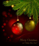 Red and gold balls on christmas background. Vector Stock Images