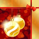Red and gold banner with Christmas ornaments. Red and gold banner with transparent Christmas ornaments. Graphics are grouped and in several layers for easy Royalty Free Stock Photo