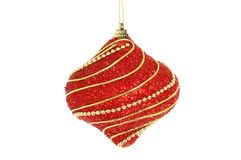 Red and gold bauble. Red and gold Christmas bauble isolated against white stock photo