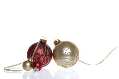 Red and Gold Baubles Stock Photo