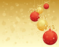 Red and gold baubles. An illustration of metallic red and gold christmas decorative baubles with snowflke and stars with an abstact golden background Royalty Free Stock Photos