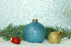 Red Gold Blue Ornaments Stock Photo