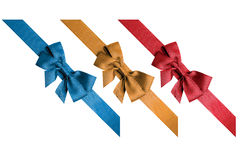 Red, gold, blue ribbons Royalty Free Stock Photos