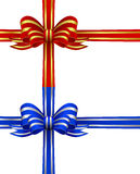 Red and Gold & Blue and Silver Bows Stock Image