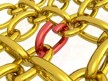 Red and gold broken hauberk Stock Images