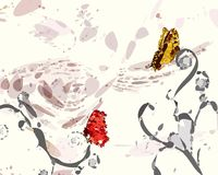 Red and gold Butterflies. On dry branch Stock Images