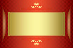 Red and gold  card with gold frame - vector Royalty Free Stock Photos