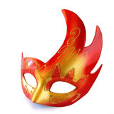 Red and gold carnival mask isolated on white Royalty Free Stock Photography