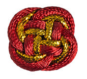 Red, gold Chinese lucky knot macro isolated on white background. Royalty Free Stock Photos